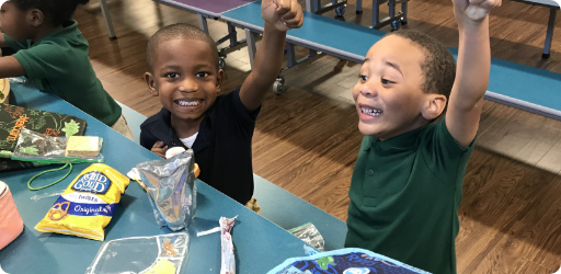 Two students enjoying lunch together